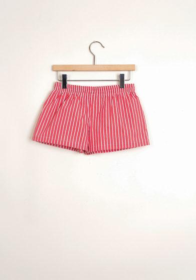 Bermuda shorts da mare a maxi righe rosse