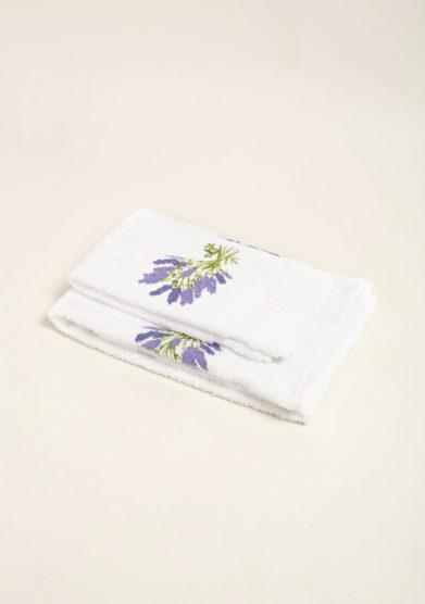 Coppia di spugne bianco in puro cotone con ricamo fiori