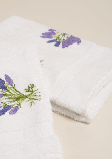Coppia spugne in cotone bianco con ricamo fiori