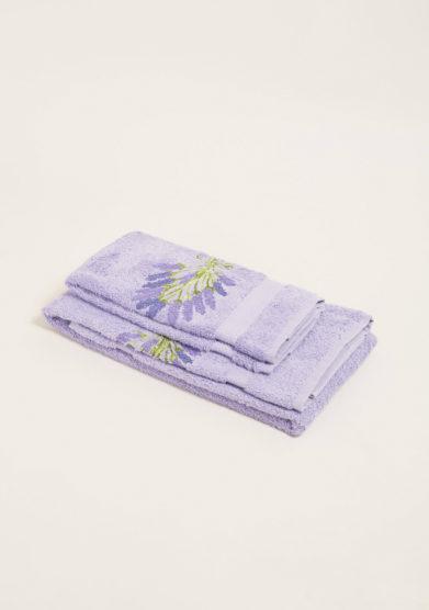Coppia di spugne in puro cotone lavanda con ricamo fiori