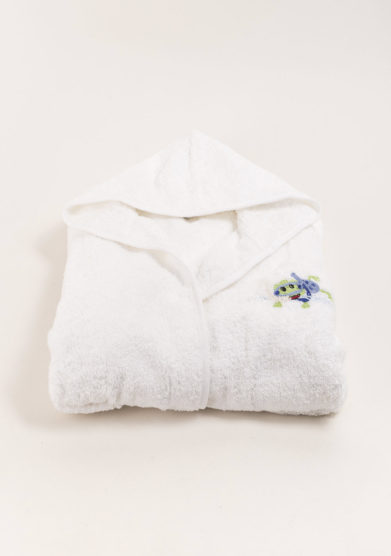 Accapatoio bambino in puro cotone ricamo rana azzurra