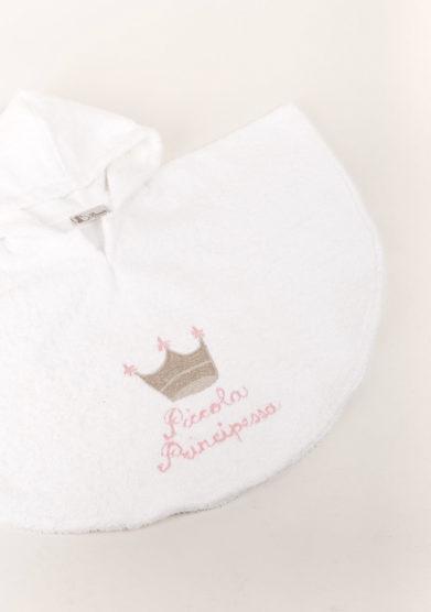 Accapatoio neonato in puro cotone ricamo piccola principessa