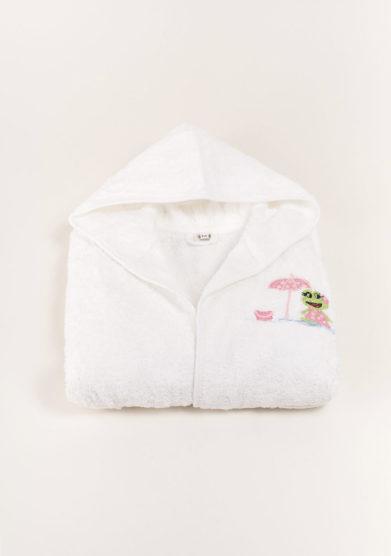 Accapatoio bambina in puro cotone ricamo rana rosa