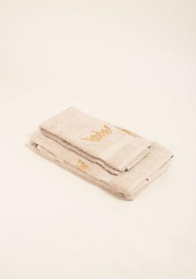Coppia di spugne in puro cotone ricamo corona