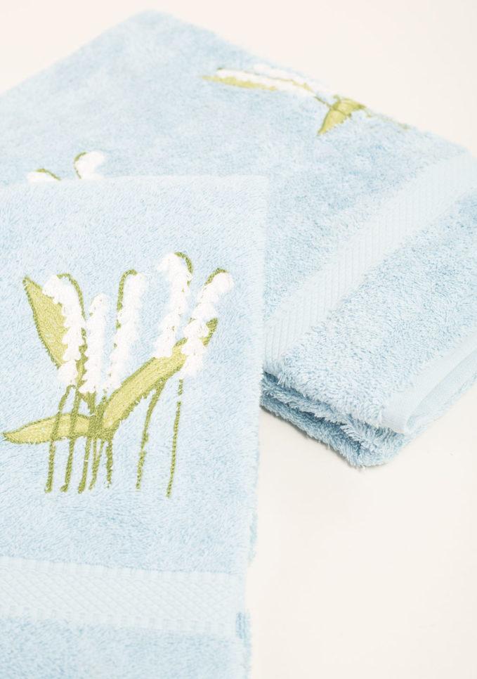 Coppia di spugne in puro cotone ricamo fiori mughetto