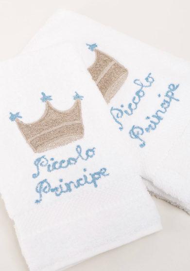 Coppia di spugne in puro cotone ricamo piccolo principe