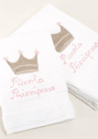 Coppia di spugne in puro cotone ricamo piccolo principessa