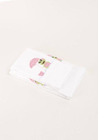 Coppia di spugne in puro cotone ricamo rana rosa