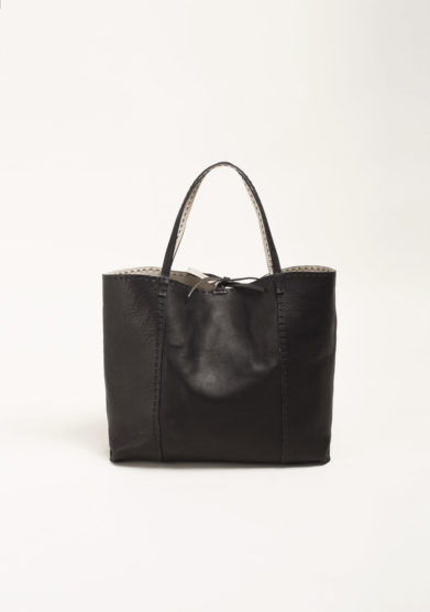 Shopper in pelle nera
