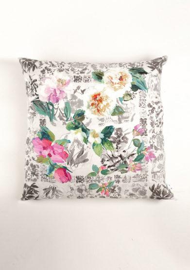 Cuscino stampa maxi fiori in lino
