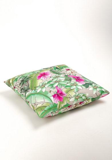 Cuscino in cotone con stampa fiori