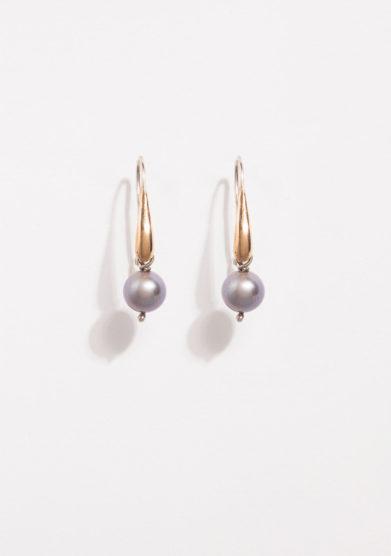 Orecchini a goccia in bronzo e argento con perla grigia
