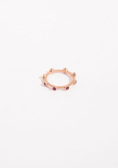 Anello rosario in oro rosa e rubini