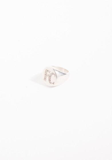 Anello chevalier piccolo in argento con Iniziali brillanti