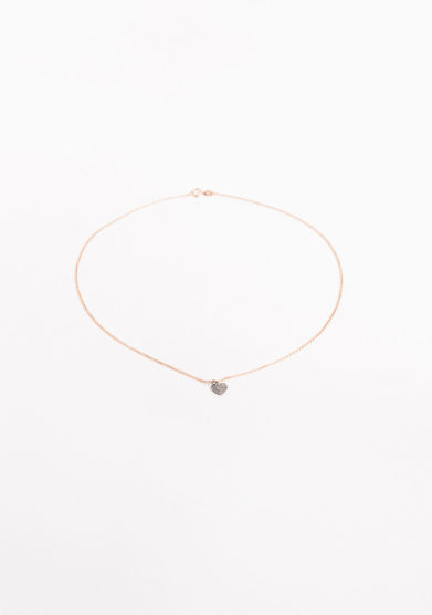 Collana in oro rosa con pavè diamanti ice