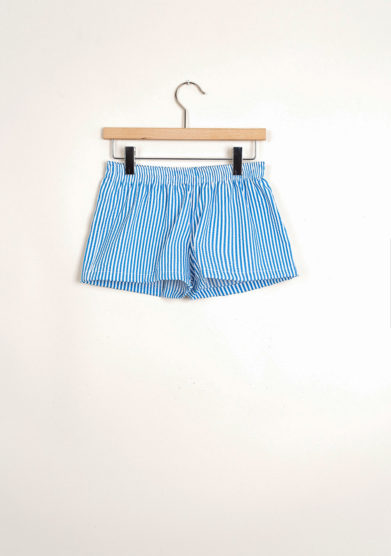 Bermuda shorts da mare a righe goffrate blu cobalto