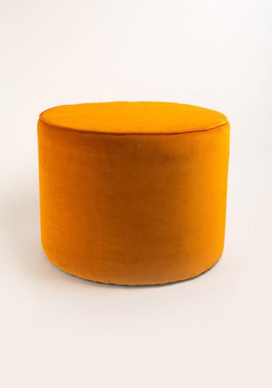 Pouff in velluto arancione