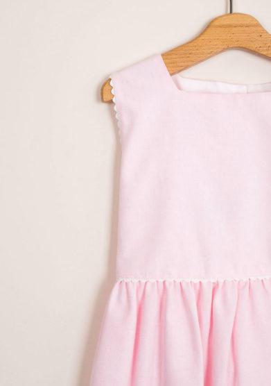 Abito bambina rosa in cotone stile impero