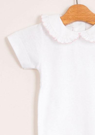 Body neonata di cotone con collo smerlato
