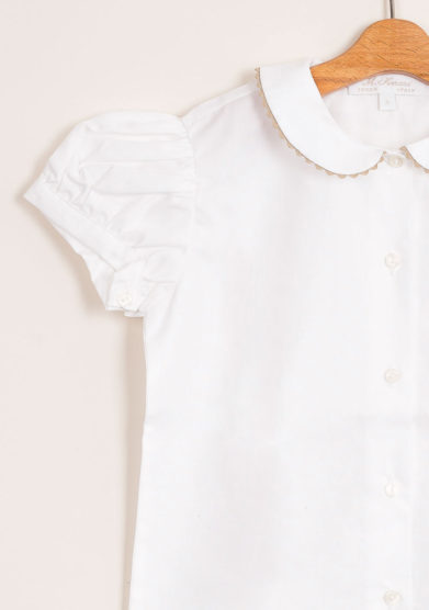 Camicia bambina in cotone con colletto spighetta colorato