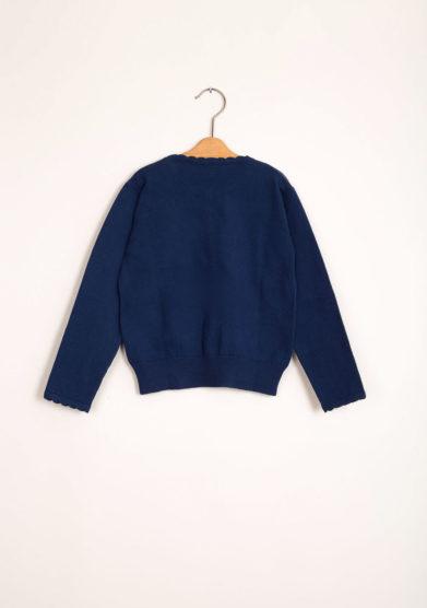 Cardigan bambina in cotone blu