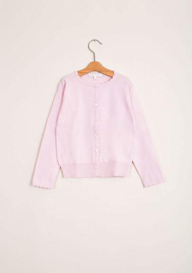Cardigan bambina in puro cotone rosa