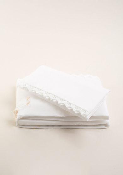 Set lenzuola culla in puro cotone bianco con ricamo fatina