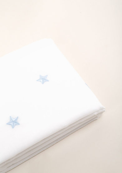Set lenzuola per culla in puro cotone con ricamo stelle