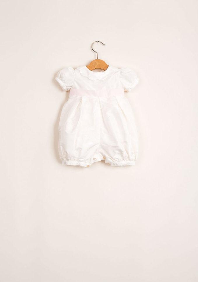 Pagliaccetto sartoriale bambina in seta con collo a corolla