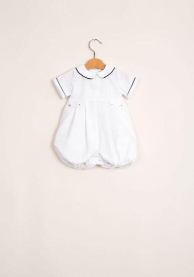 Pagliaccetto bambino in cotone con profilo a contrasto