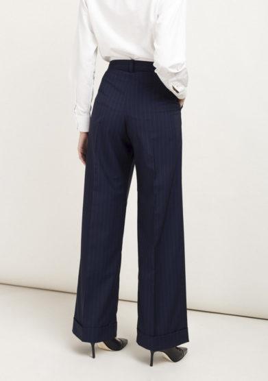 Pantaloni gessati in lana