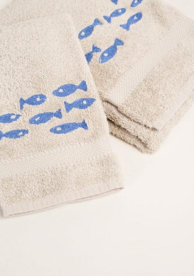 Coppia di spugne color corda in puro cotone ricamo pesci