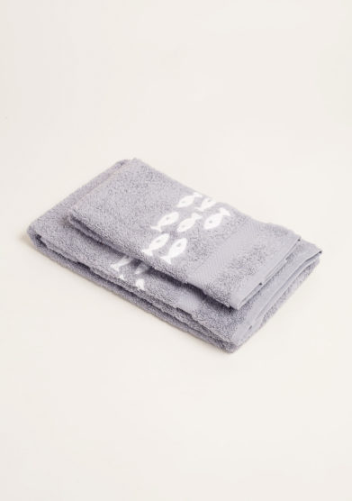 Coppia di spugne color grigio in puro cotone con ricamo pesci