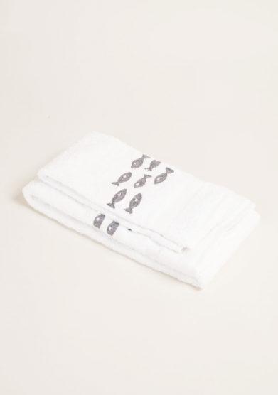 Coppia di spugne color bianco in puro cotone con ricamo pesci
