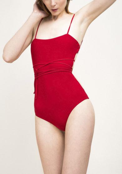 Costume intero lace-up rosso