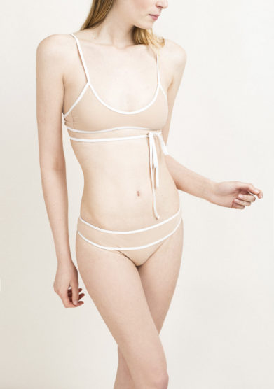 Top bikini lace up nude