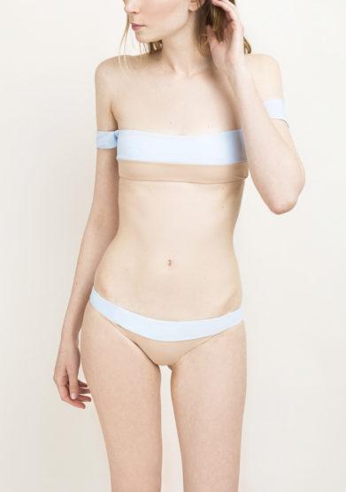 Top bikini off-the-shoulder azzurro