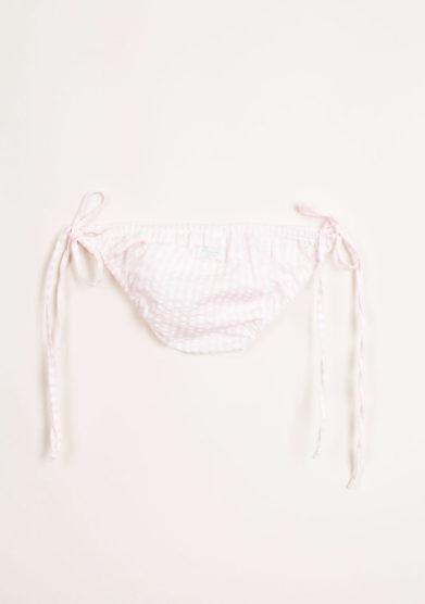 Costume da bagno bambina a maxi righe goffrate rosa