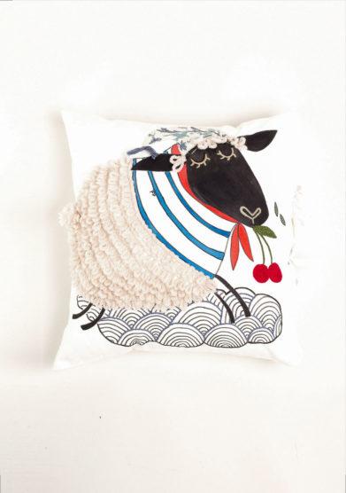 Cuscino disegno pecora in cotone