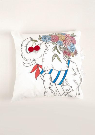 Cuscino disegno elefante in cotone