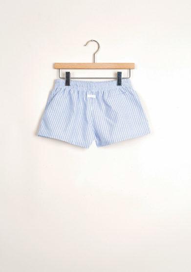 Bermuda shorts da mare a maxi righe azzurre