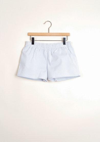 lBermuda shorts da mare a righine goffrate azzurre