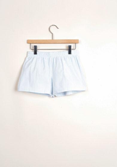 Bermuda shorts da mare a righine goffrate azzurre