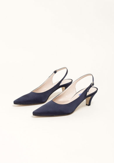 Slingback in satin blu