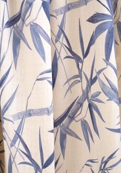 Tenda in lino stampa foglia