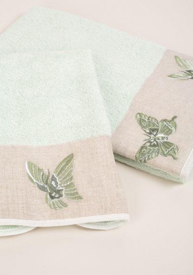 Coppia di spugne in puro cotone con ricamo farfalla