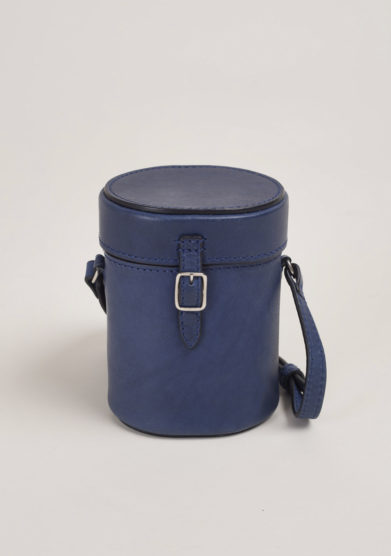 Mini bag in blue vacchetta leather