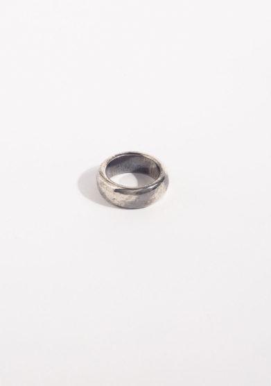 Anello a fascia in argento brunito