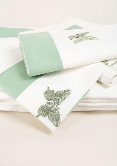 Completo letto in puro cotone con farfalle