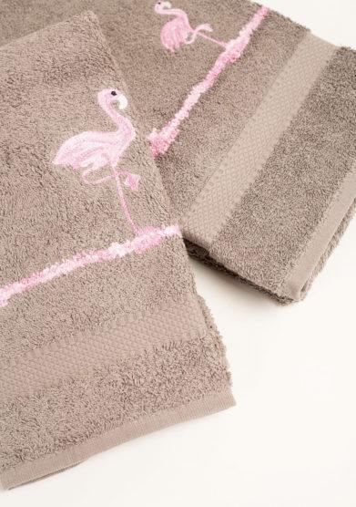 Coppia di spugne in puro cotone ricamo fenicotteri